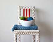 White Accent Chair, Home Office Chair, Upcycled Furniture, Crochet Home Decor, Eco-Friendly Fiber Art by Knits for Life