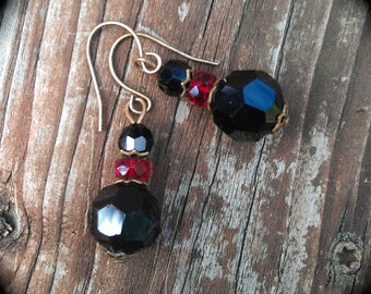 Gothic Red and Black Earrings vintage beaded earrings
