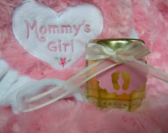 Baby Shower Edible Favors, Hand Made Gift Tags,  24 Hex Jars
