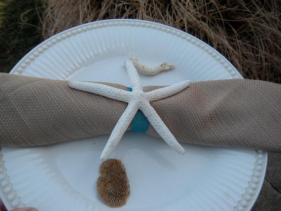 Beach Wedding Table Decor, Starfish Napkin Rings, Beach Themed Party, Wedding Reception,  Bridal Shower Decor, 12