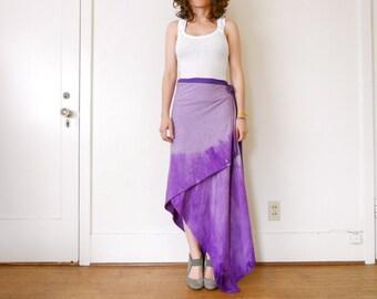ON SALE was 69 Dollars Wrap Skirt asymmetrical purple grey long skirt maxi tie dye dip ombre resort spa yoga skirt spring summer Rose Temple