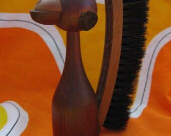 Teak Wood Monkey Brush. 1960's Vintage Modernist. Mod, Mid century, Danish Modern, Eames, Bojesen, Bolling  era.