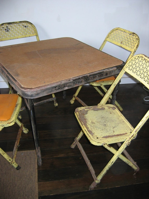 items similar to child 39 s metal folding chairs and table vintage 1950 4 chairs and a card table. Black Bedroom Furniture Sets. Home Design Ideas