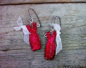Enamel earrings dresses handpainted in spotty red handcrafted by etsy jewelry shop Artedeumdeco