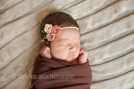 Baby Felt Flower Headband - Peach, Vintage PIink and Grapefruit -Headband -Baby Girl Headband -Baby Headband-Newborn Headband-Girls Headband