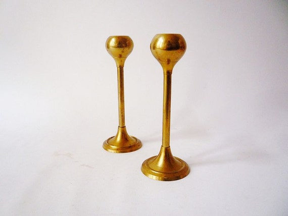 2 Vintage Mid Century Brass Candle Holders