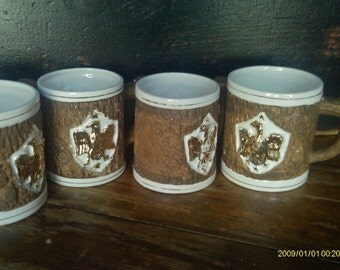 Vintage Early American Eagle Coffee Mugs / Holt & Howard / Lodge