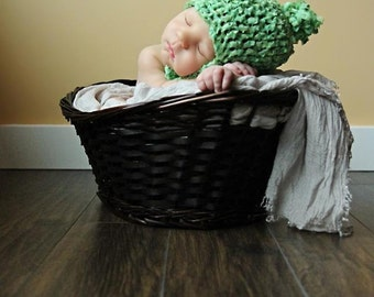 "Newborn CROCHET HAT PATTERN: ""Lil' Sprout"" Crocheted Bucket Hat, Newborn Crochet, Crochet Photo Prop"
