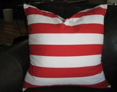"""Set of 2-24"""" Red and White Stripes Pillow Cover, Free U.S. Shipping"""