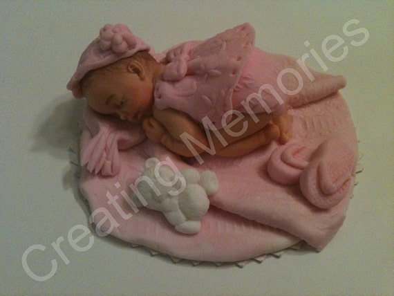 Fondant Baby Girl in Pink outfit. Made of edible vanilla fondant. Ready for your cakes. Gumpaste/Fondant Cake decorations/baby shower topper