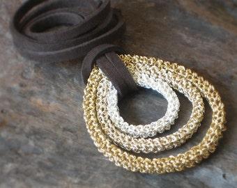 Crochet Statement NECKLACE PENDANT in Silver & Gold Plated Wire: PEACOCK Statement Pendant [Collier Crochet Paon /Collar Colgante Ganchillo]