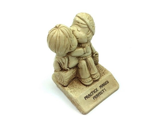 "1974 Paula figurine, kissing couple, ""Practice Makes Perfect"", vtg collectible"