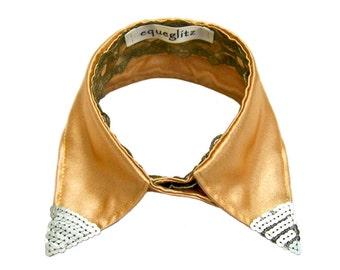 Detachable collar, Valentine's champagne satin silver sequins olive lace