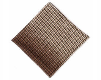 Brown check beige houndstooth cotton pocket square
