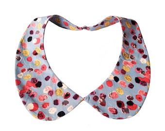 Detachable peter pan collar necklace, Wedgwood blue romantic pebble print