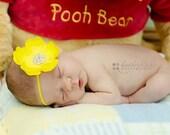 Baby Girl Yellow Flower Headband..Rhinestones..Yellow Flower Headband..Infant Yellow Flower Headband..Toddler Headband..Newborn Headband