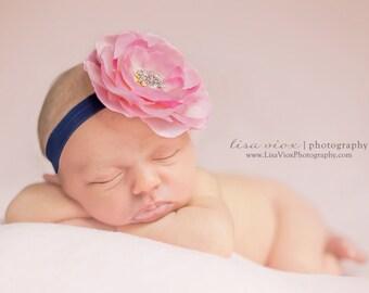 Baby Headband..Baby Flower Headband..Baby Girl Flower Headband..Pink and Navy Blue Headband..rhinestones..Baby Pink and  Navy Blue Headband