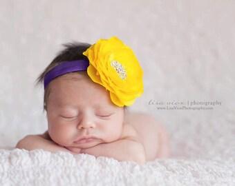 Baby Girl Yellow and Purple Flower Headband..Rhinestones..Yellow and Purple Headband..Infant Headband..Toddler Headband..Newborn Headband
