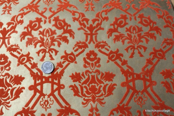 1970's Orange Flocked Damask on Metallic Gold background