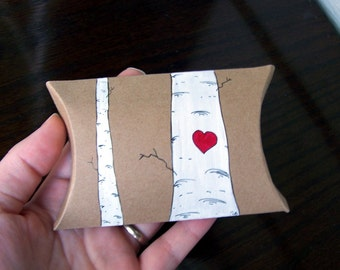 Love Birch Pillow Boxes -Favor Boxes -5 Hand-painted -Woodland Wedding Decoration -Valentines Wedding-Winter Wedding-Gift Boxes-Favour Boxes