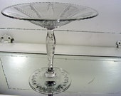 Mid Century Crystal Pedestal Candy Dish - Vintage Wheat Pattern Stemware Serving Bowl - Mad Men Era Decor & Entertaining - Clear Lead Glass