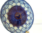 Flow Blue China Plate - Vintage 1880s - Chain of States Pattern