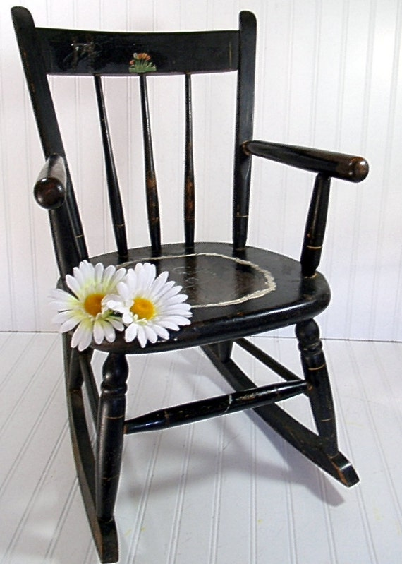 Wooden Black Rocking Chair - Vintage Handmade Child Size - Shabby Farmhouse Decor