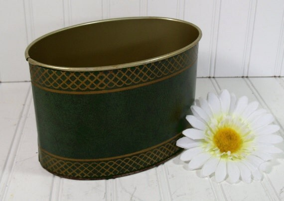 Green Metal with Gold Tooling Desk Bin - Vintage Office Accessory - Shabby Chic Tin Box for Repurposing