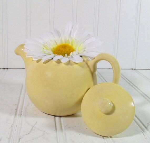Vintage Yellow One Cup TeaPot - FarmHouse Handmade Ceramic - Shabby Chic Cottage Decor