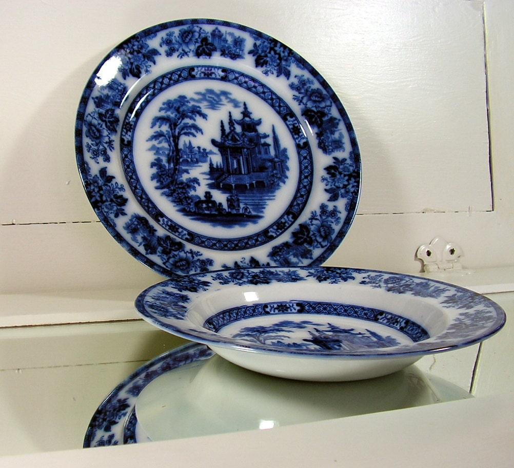 Antique flow blue china soup bowl plate set vintage s
