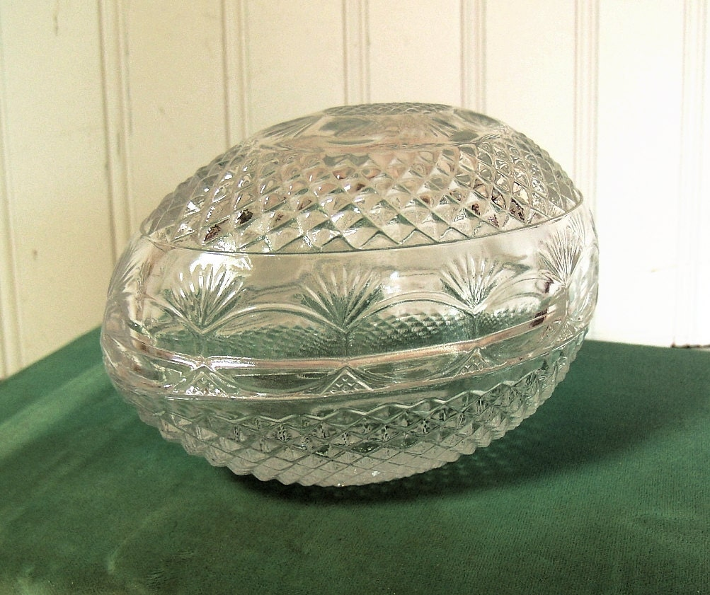 Avon Crystal Egg Vintage Clear Glass Collectible Shabby