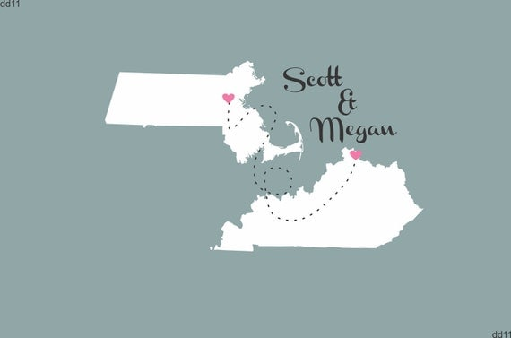 Wedding Poster Map Personalized Love Will Find A Way Map Print Poster Print 24x36 Great Guest Book Alternative Two State Map Guestbook