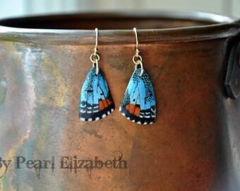 Sonoran Blue Butterfly Wings Earrings - Carved Walnut Hardwood & Hand Painted - 14 Karat Gold Filled Findings