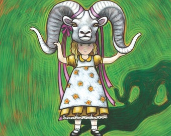 Little Girl in a Sheep Mask print - aires kids room art print