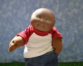 "Cabbage Patch Clothes - T-Shirt for 16"" to 18"" Boy Dolls - Red and White - Handmade"