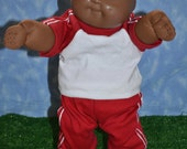 "Cabbage Patch Doll Clothes - Handmade for 16"" - 18"" Boy Dolls - Red Sweats Outfit"