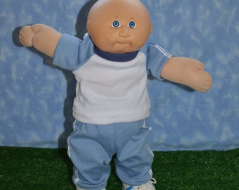 """Cabbage Patch Clothes - Handmade for 16"""" - 18"""" Boy Dolls - Light Blue Sweats Outfit"""
