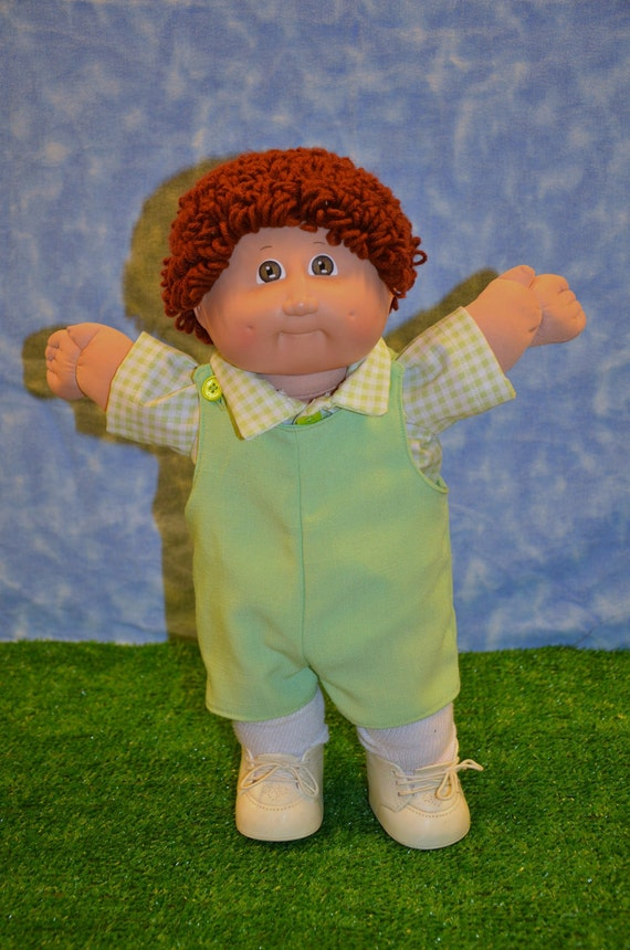"Cabbage Patch Clothes - Handmade for 16""- 17"" Boy Dolls - Spring Green Jumper Outfit"
