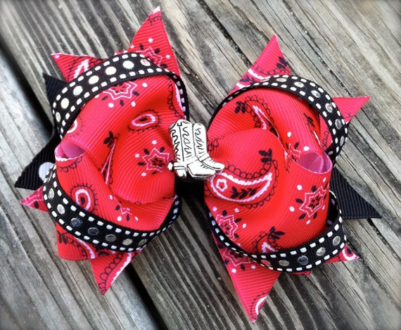 COWGIRL HAIR BOW w/ Boots Center Rodeo/Western Wear Boutique Red Bandana Hair Bow Cute