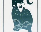 Blanche - Ouija Cat - Original Screen Print