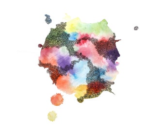 WHENEVER abstract watercolor art print in multicolor