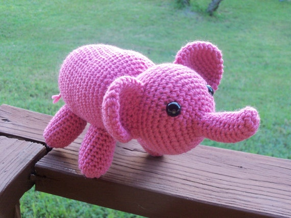 THINK PINK Amigurumi Elephant - Bright Colored Hand Crocheted Elephant with Safety Eyes (Finished Doll)