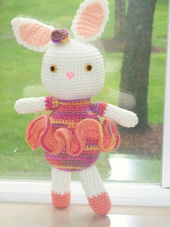 14 inch Ballerina Bunny - Salmon and Peach Accents with Hot Pink Variegated - Large Bright Eyed Amigurumi Bunny Doll Perfect for Easter