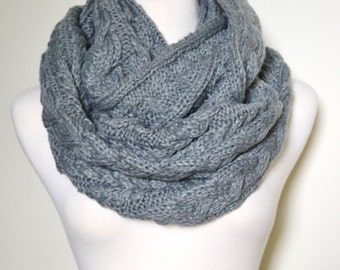 Knitting Pattern For Snood Scarf : Cozy Grey Chunky Knitted Loop Infinity Circle Scarf, Cable ...