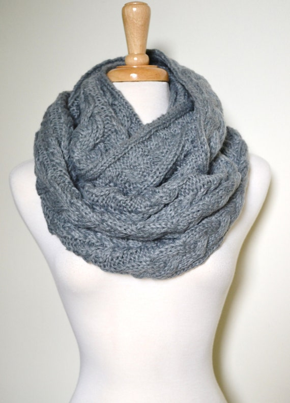 Cozy Grey Chunky Knitted Loop Infinity Circle Scarf, Cable Pattern, Snood, Cowl, thick Cable knit, Winter Scarves