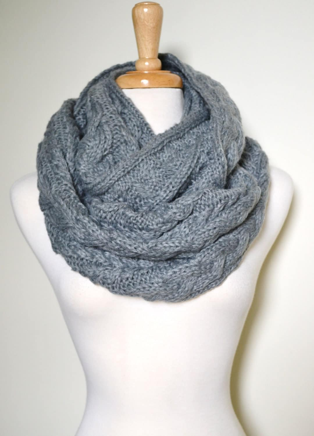 Cozy Grey Chunky Knitted Loop Infinity Circle by AnytimeScarf