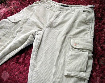 Men's Cool Corduroy Multi Pouched Pants in Light-Beige/off White, Size 46 (European)