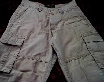Men's Multi Pouched Light-Brown Pants, Vintage - Size 33x34
