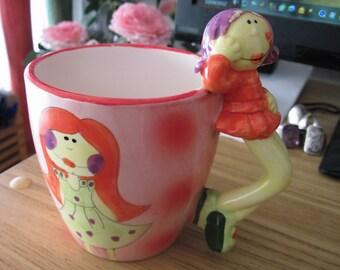 80's Large Ceramic Handmade Pottery Cheerful Girlie Coffee Mug