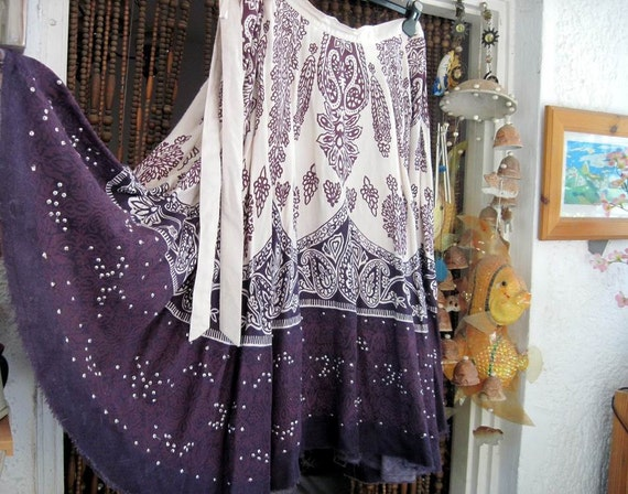 80's Boho Hand Sequined Skirt in Dark Dusty Lilac & Ivory, Vintage - Large
